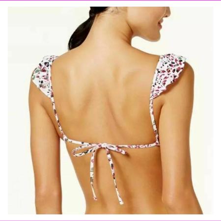 Hula Honey Juniors Cheetah Swirl Ruffled Lined V-neck Push-Up Cups Bikini Top L/White/Multi
