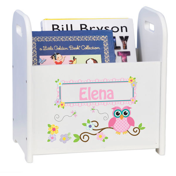 Personalized Pink Owl Caddy and Book Rack