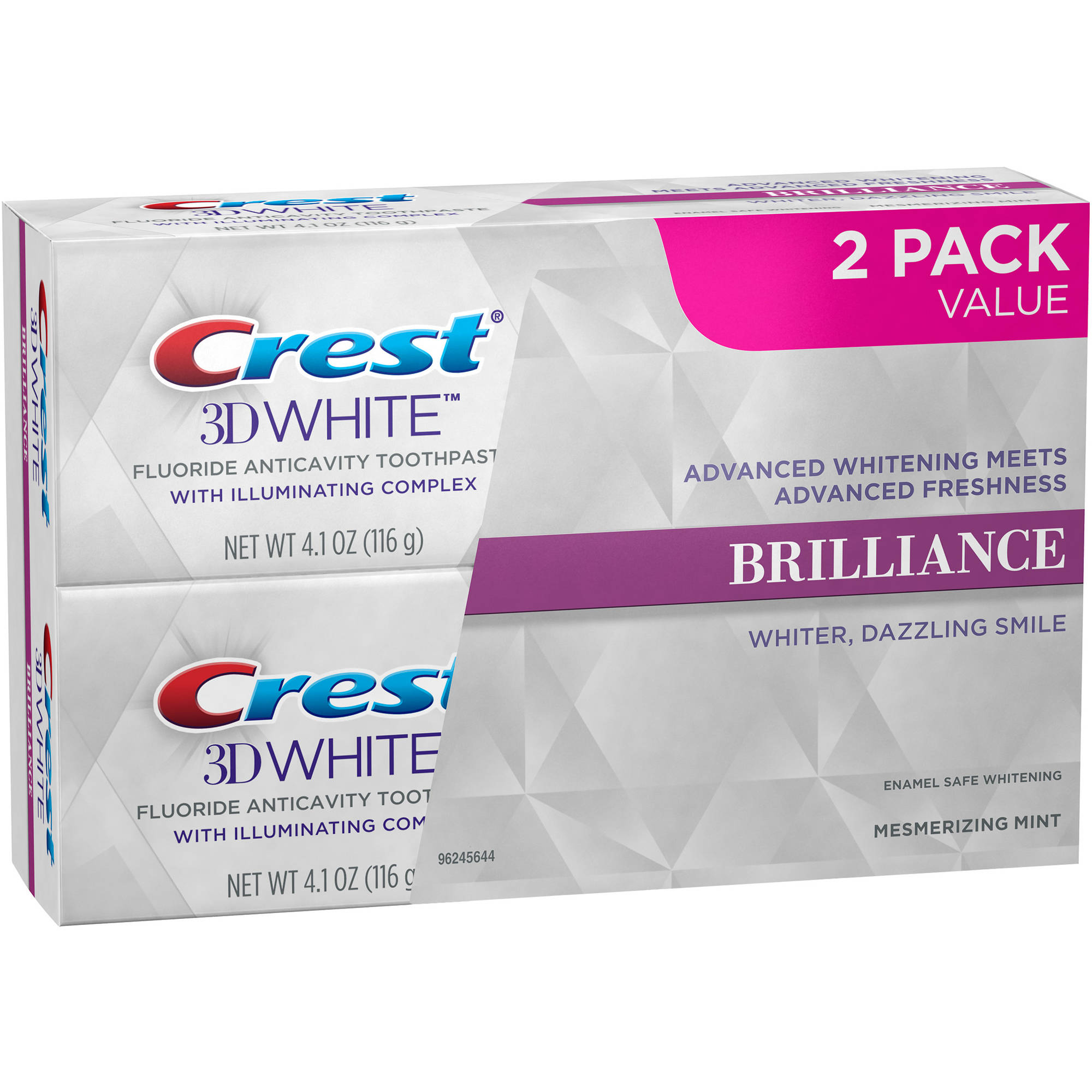 Crest 3D White Brilliance Mesmerizing Mint Whitening Toothpaste, 4.1 oz, (Pack of 2)