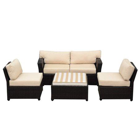 Caymus 5 Piece Rattan Wicker Sectional Sofa Set Sunbrella Cushion Outdoor Garden Patio Furniture Set Coffee Beige ()