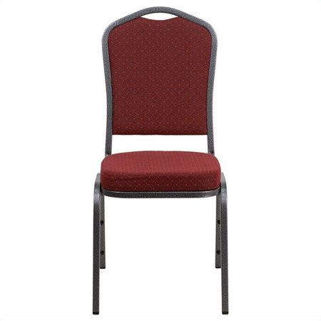 Red Folding Chair - Flash Furniture HERCULES Series Crown Back Stacking Banquet Chair with Burgundy Patterned Fabric and 2.5'' Thick Seat, Silver Vein Frame