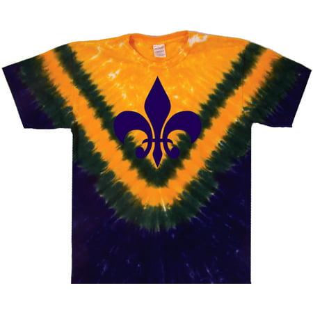 Tie Dyed Shop New Orleans Mardi Gras Fleur De Lis Tie Dye T Shirt Short Sleeve Small (Mardi Gras Tie Dye)