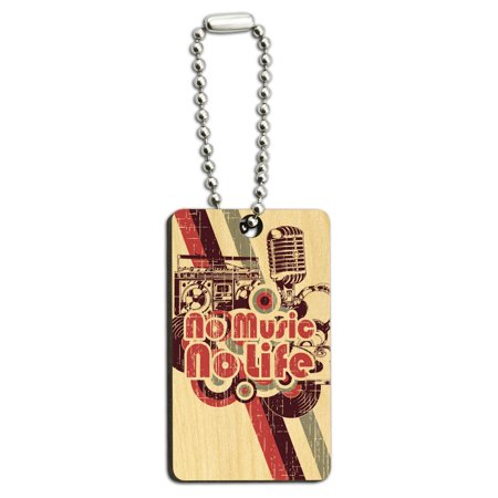 No Music No Life - DJ Radio Stereo Microphone Rock Roll Wood Rectangle Key