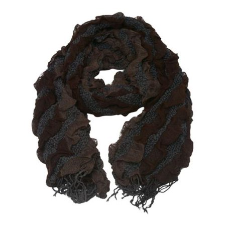 Girls Dark Brown Two Tone Gradient Print Ruffled Fringed Scarf