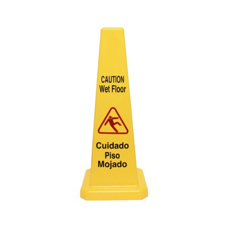 Cone shape wet floor caution sign, 27 inch height, plastic, comes in each