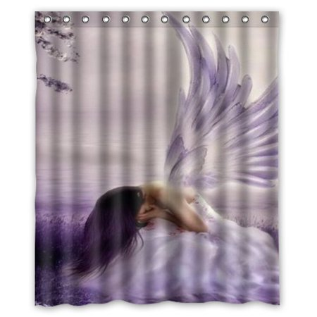 HelloDecor Angel wings Shower Curtain Polyester Fabric Bathroom Decorative Curtain Size 60x72 Inches