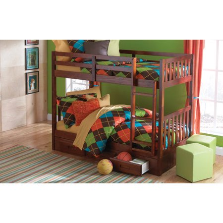 Donco kids mission twin over twin bunk bed with 3 drawer storage - Kids twin beds with storage drawers ...