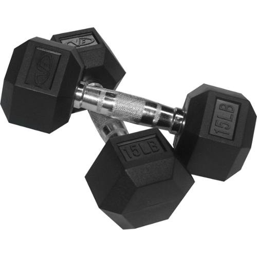 Valor Fitness  15 lb Black Rubber Hex Dumbbells (Set of 2)