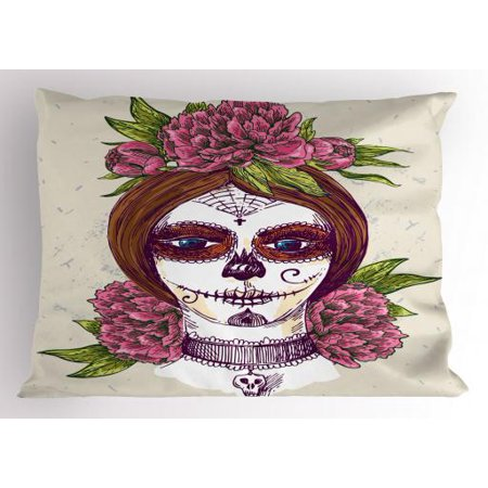 Sugar Skull Pillow Sham Portrait of a Young Girl with Gothic Day of the Dead Makeup Ink Painting Style, Decorative Standard Size Printed Pillowcase, 26 X 20 Inches, Multicolor, by Ambesonne (Sugar Skull Makeup Guy)