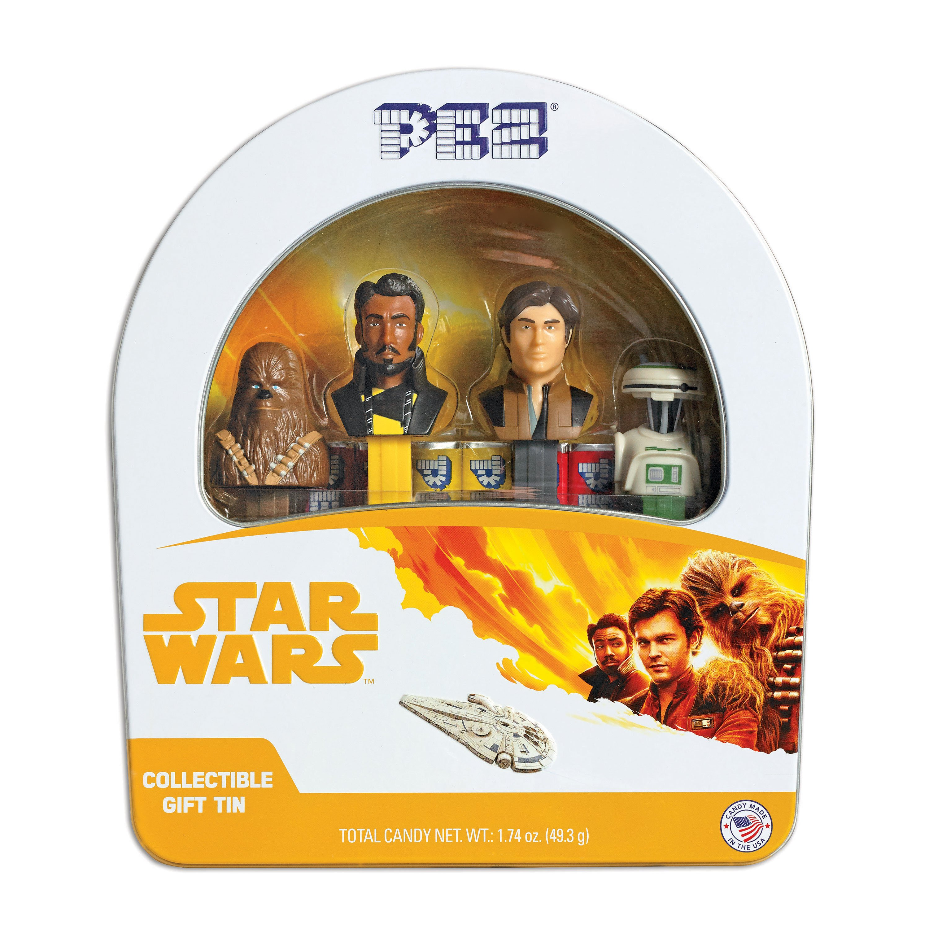 PEZ Candy Star Wars Han Solo Gift Tin with 4 Candy Dispensers + 6 Rolls of Candy