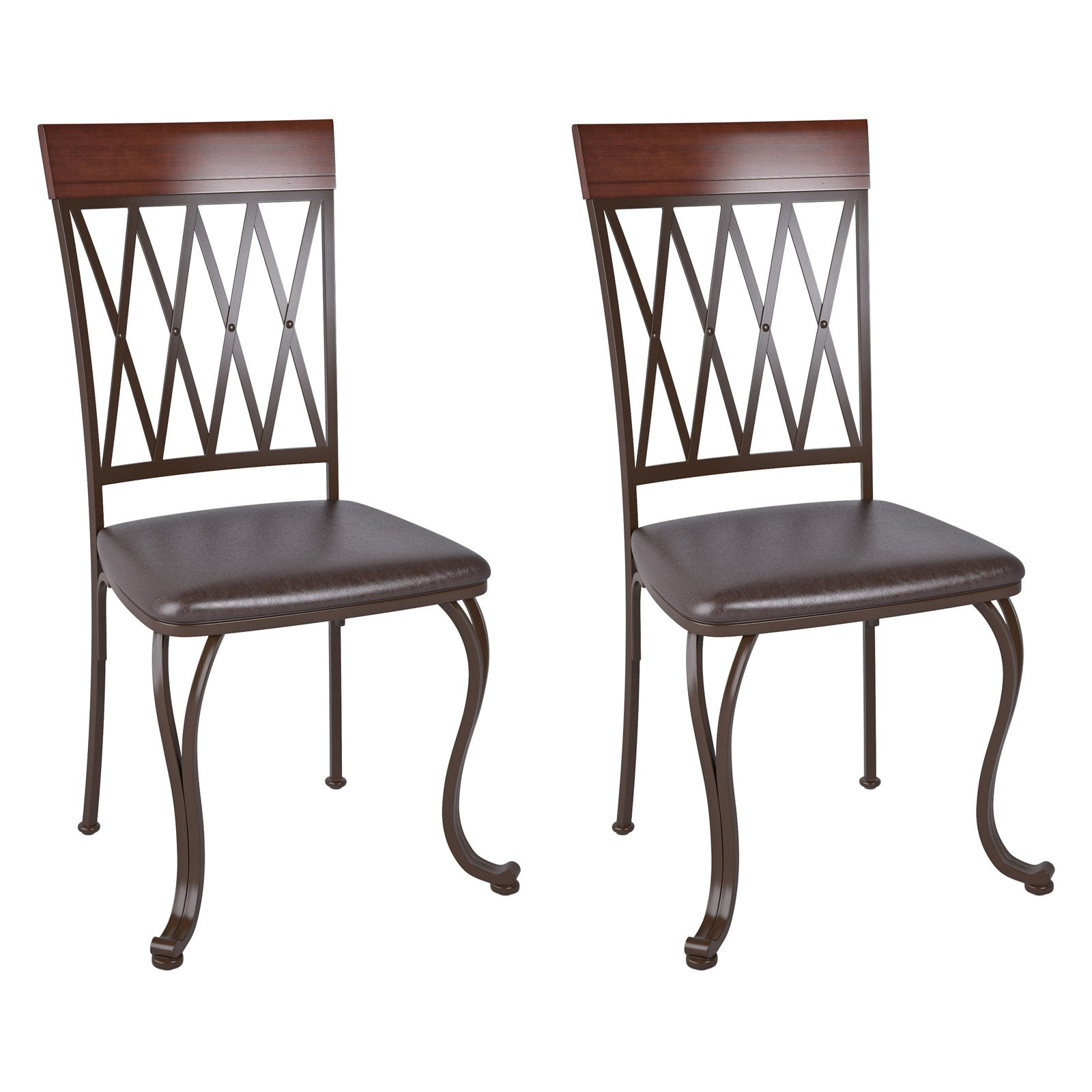 CorLiving Jericho Metal Dining Chair with Dark Brown Bonded Leather Seats, Set of 2