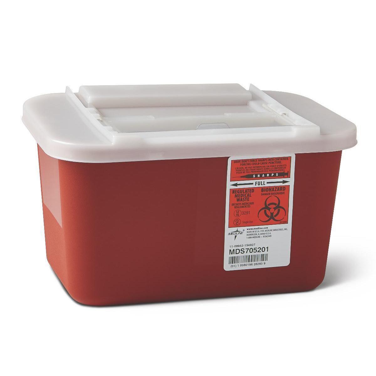 Medline  Biohazard Multi-Purpose Sharps Containers, 4 quarts (Pack of 32)