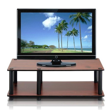 Just No Tools Mid TV Stand, Dark Cherry with Black Tube - 10.9 x 31.5 x 15.6 in. (Old Tv Tube)