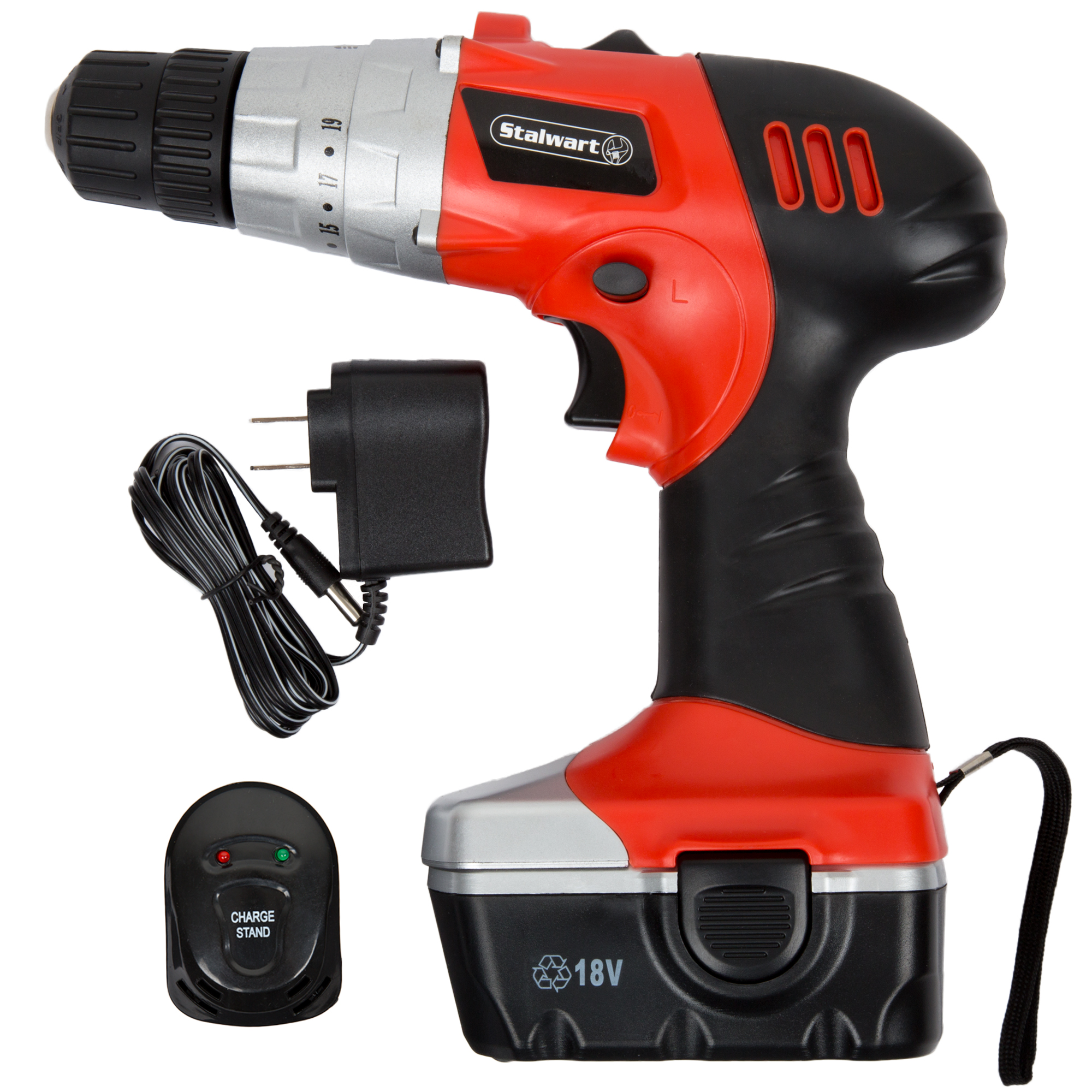 Stalwart W550004 18-Volt Ni-Cad Cordless Drill with LED Light