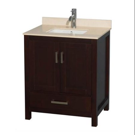 Wyndham Collection Sheffield 30 inch Single Bathroom Vanity in Espresso, White Carrera Marble Countertop, Undermount Oval Sink, and No Mirror