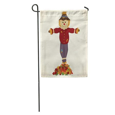 SIDONKU Blue Face Happy Scarecrow Pile of Fall Leaves Brown Autumn Garden Flag Decorative Flag House Banner 12x18 inch](Scarecrow Face)