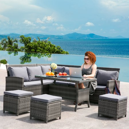 JUMPER Patio Furniture Set 9 Piece PE Rattan Sectional Set with Coffee Table and Deep Grey Cushion Outdoor Indoor Garden Wicker Sofa Set(Grey)