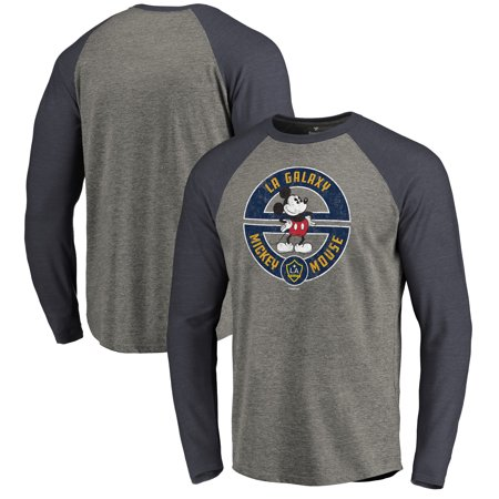 wholesale dealer 49863 7b87c LA Galaxy Fanatics Branded Disney Mickey's True Original Seal Long Sleeve  Tri-Blend Raglan T-Shirt - Heather Gray - Walmart.com