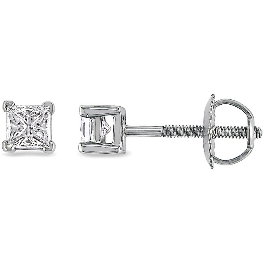 Miabella 1/2 Carat T.W. Princess-Cut Diamond Solitaire Platinum Screwback Stud Earrings