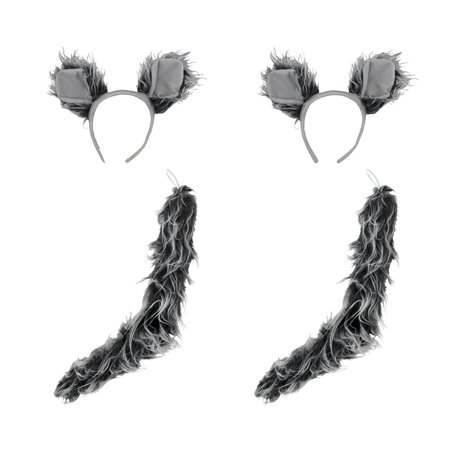 Werewolf Big Bad Wolf Ears Tail Kit Wolfman Grey Costume Set Halloween Accessory - Halloween Costumes Big Bad Wolf