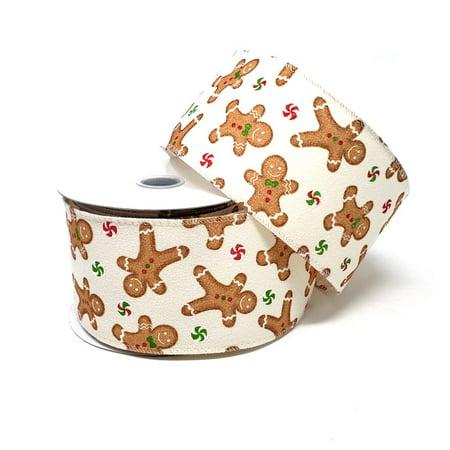 Christmas Gingerbread Velvet Ribbon, 2-1/2-Inch, 10-Yard, - Gingerbread Ribbon