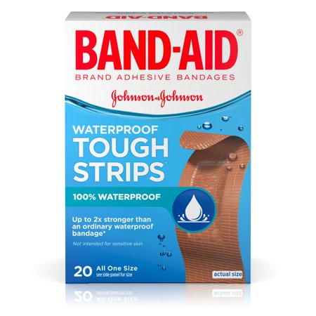 Johnsons Plastic Bandages (Band-Aid Brand Tough-Strips Waterproof Adhesive Bandages, Durable Protection for Minor Cuts and Scrapes, 20 Count )