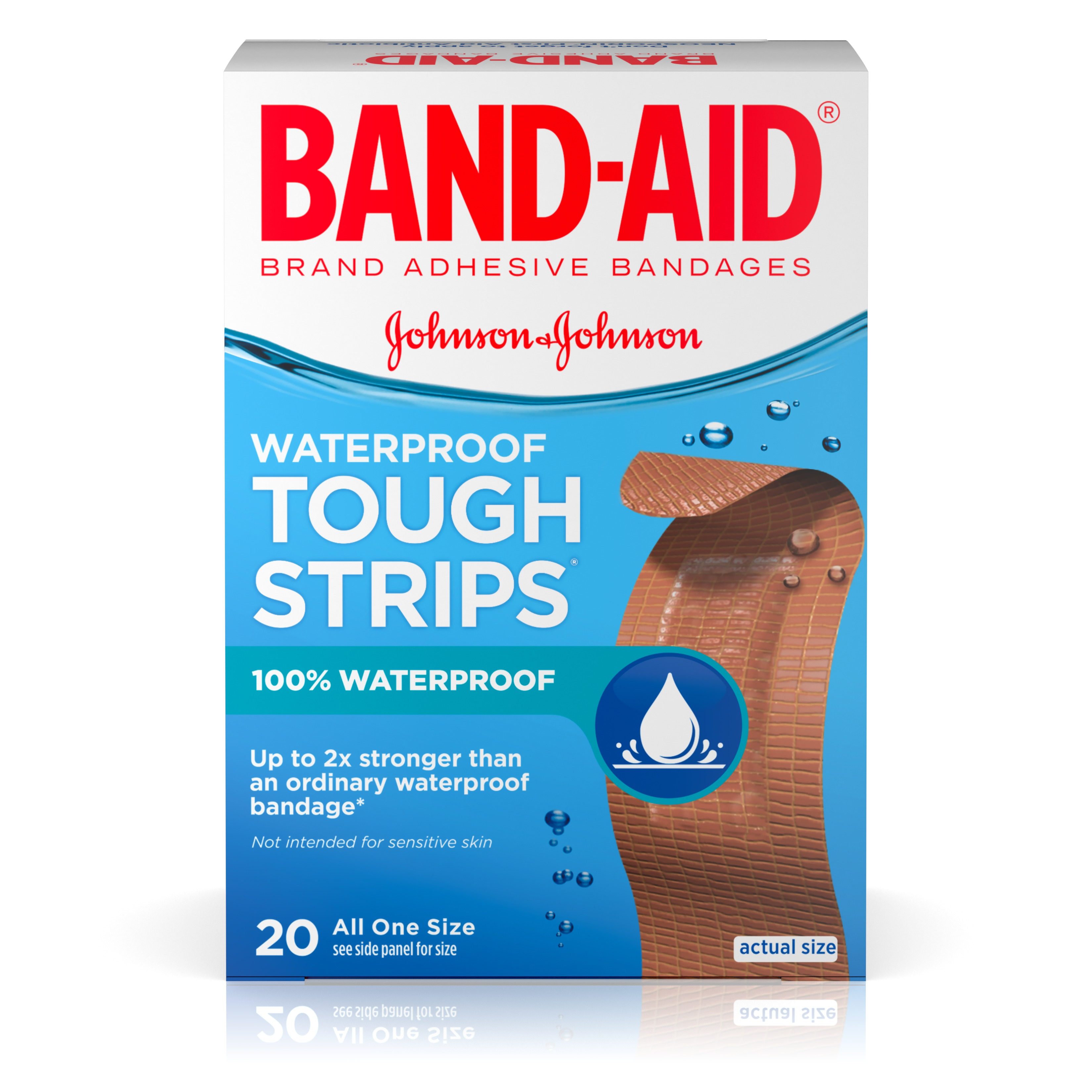 Band-Aid Brand Tough-Strips Waterproof Adhesive Bandages, Durable Protection for Minor Cuts and Scrapes, 20 Count
