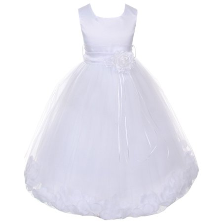 Little Girls White Satin White Petal Flower Girl Dress 5/6](Little Girls White Dresses)