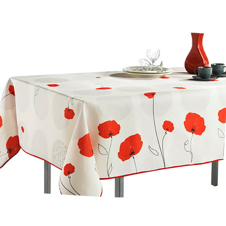 Rectangular Tablecloth Ivory White Red Poppy Flowers, Stain Resistant, Washable, Liquid Spills bead up, Seats 8 to 10 People - 60 x 80-Inch](Red Tablecloths)