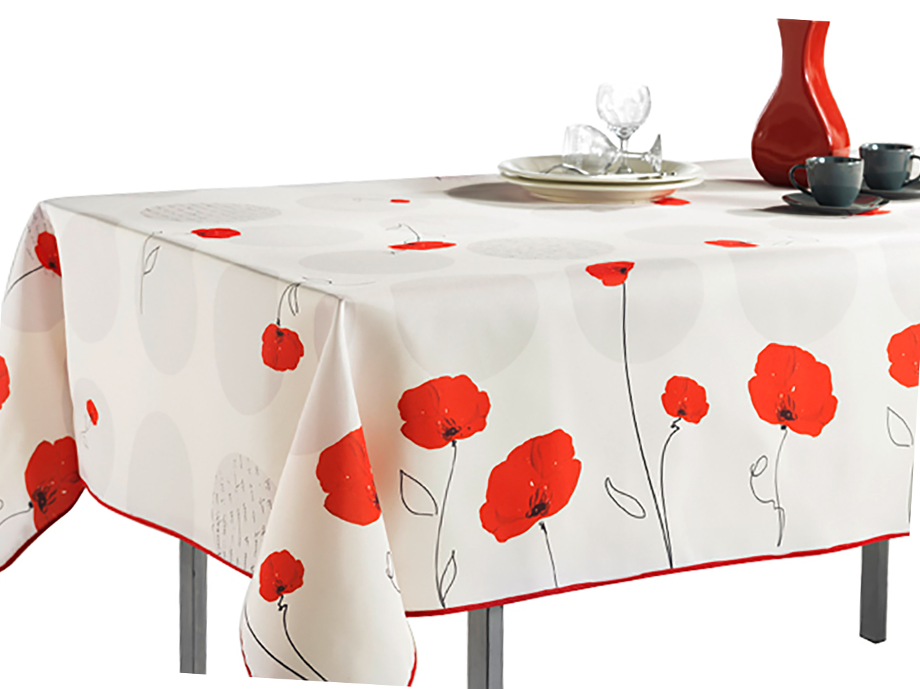 Delicieux Rectangular Tablecloth Ivory White Red Poppy Flowers, Stain Resistant,  Washable, Liquid Spills Bead