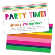 Personalized Rainbow Colored Party Time Birthday Party Invitations