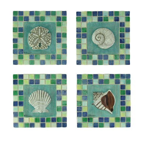 Green and Blue Mosaic Seashell Tile Coastal Wall Decor Set of 4 ()