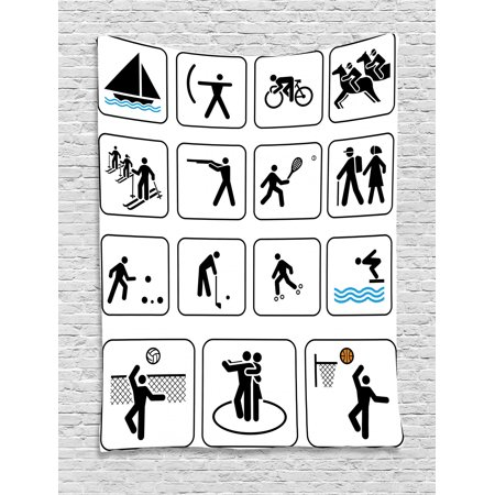 Theme For Olympics (Olympics Tapestry, Sports Competition Games Signs Dancing Horse Riding Bowling Athletics Themed Art, Wall Hanging for Bedroom Living Room Dorm Decor, Black White, by)