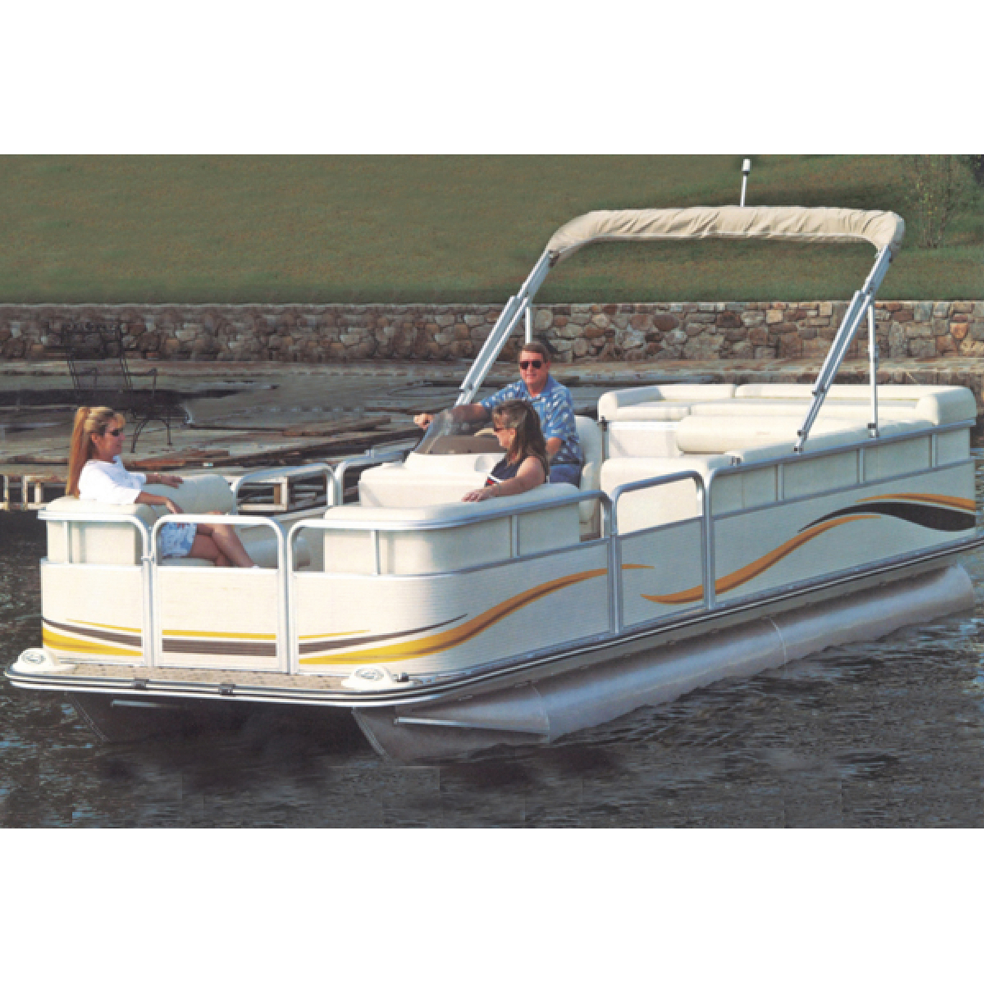 Carver Styled-to-Fit Cover for Pontoons with Fully Enclosed Deck and Bimini Top, Haze Gray