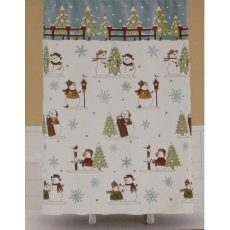 saturday knight winter heartland snowman fabric shower curtain christmas decor. Black Bedroom Furniture Sets. Home Design Ideas