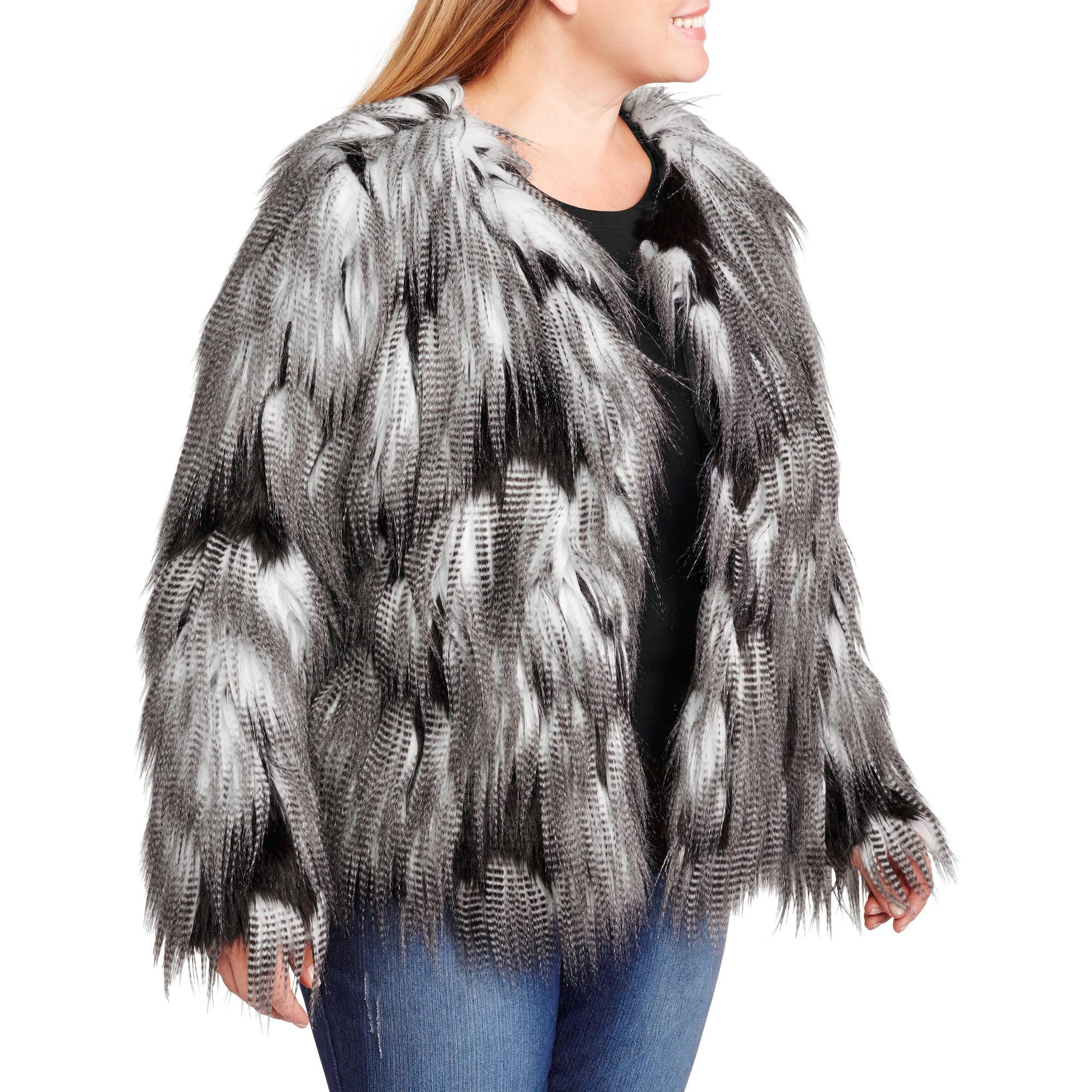 7bfd28796f4e7 Women s Plus-Size Black   Grey Cropped Faux Fur Jacket - Walmart.com