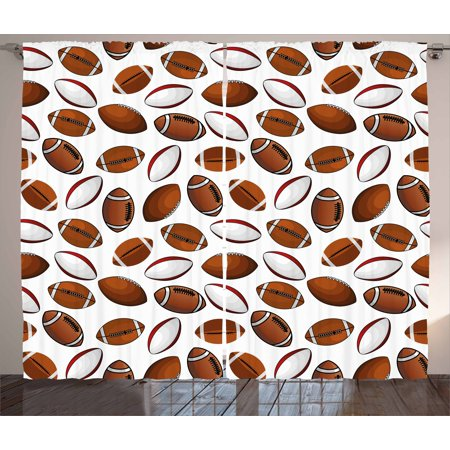 American Football Curtains 2 Panels Set, Classic Design Rugby Balls in Cartoon Style Sports Competition, Window Drapes for Living Room Bedroom, 108W X 63L Inches, Caramel Ruby White, by - Football Curtains