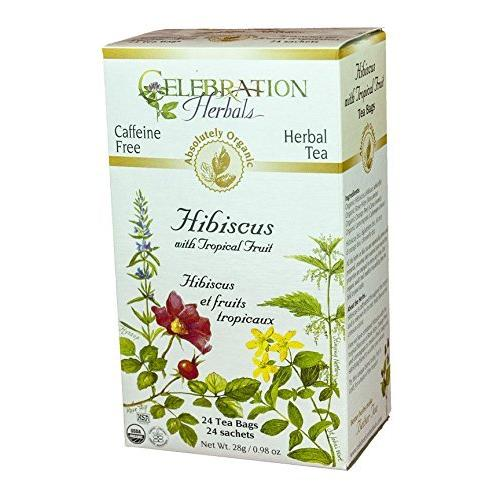 Celebration Herbals Organic Hibiscus with Tropical Fruit Tea Caffeine Free -- 24 Tea Bags 28g