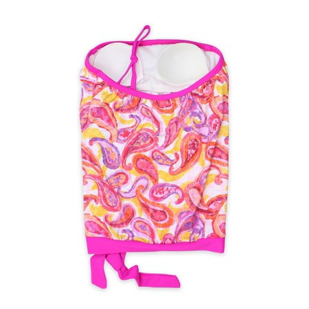 - Pink Paisley Strapless Bandeau Blouson Tie Tankini Swimsuit Set - Made in USA