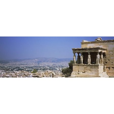 - City viewed from a temple Erechtheion Acropolis Athens Greece Poster Print