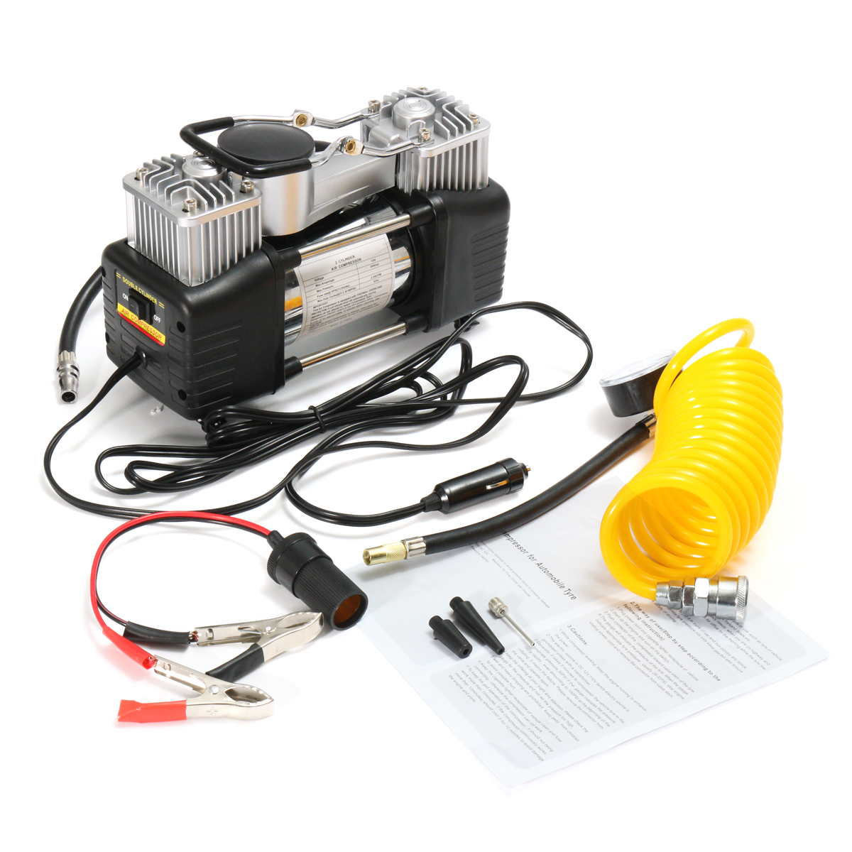 Mohoo 12V 150PSI Double Cylinder Car Air Compressor Pump Car Tyre Inflator Pressure Pump Portable Kit