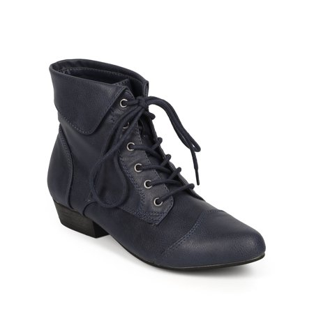 Breckelle BC45 Women Leatherette Oxford Almond Toe Lace Up Cuff Ankle Bootie