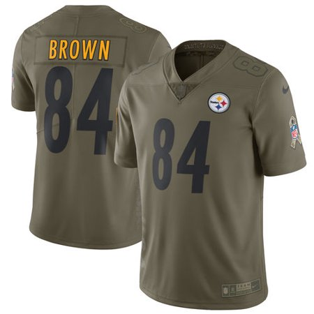 timeless design 72ae5 1b8d2 Men's Nike Antonio Brown Olive Pittsburgh Steelers Salute To ...