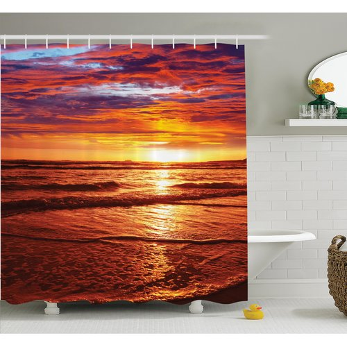 Ambesonne Nautical Sea Sunset Twilight Shower Curtain Set