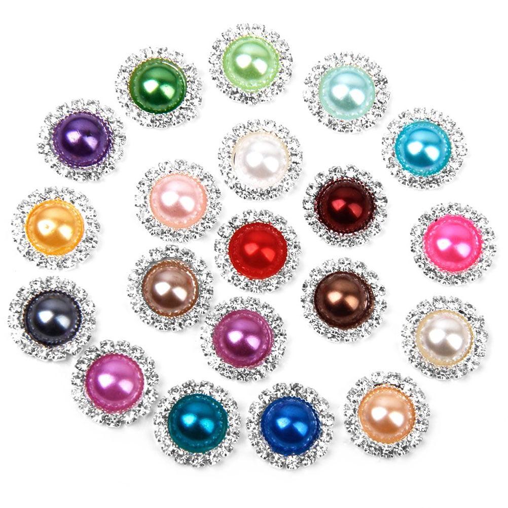 20 Pcs Mixed Shapes Pearl Rhinestone Flatback Buttons DIY Embellishments