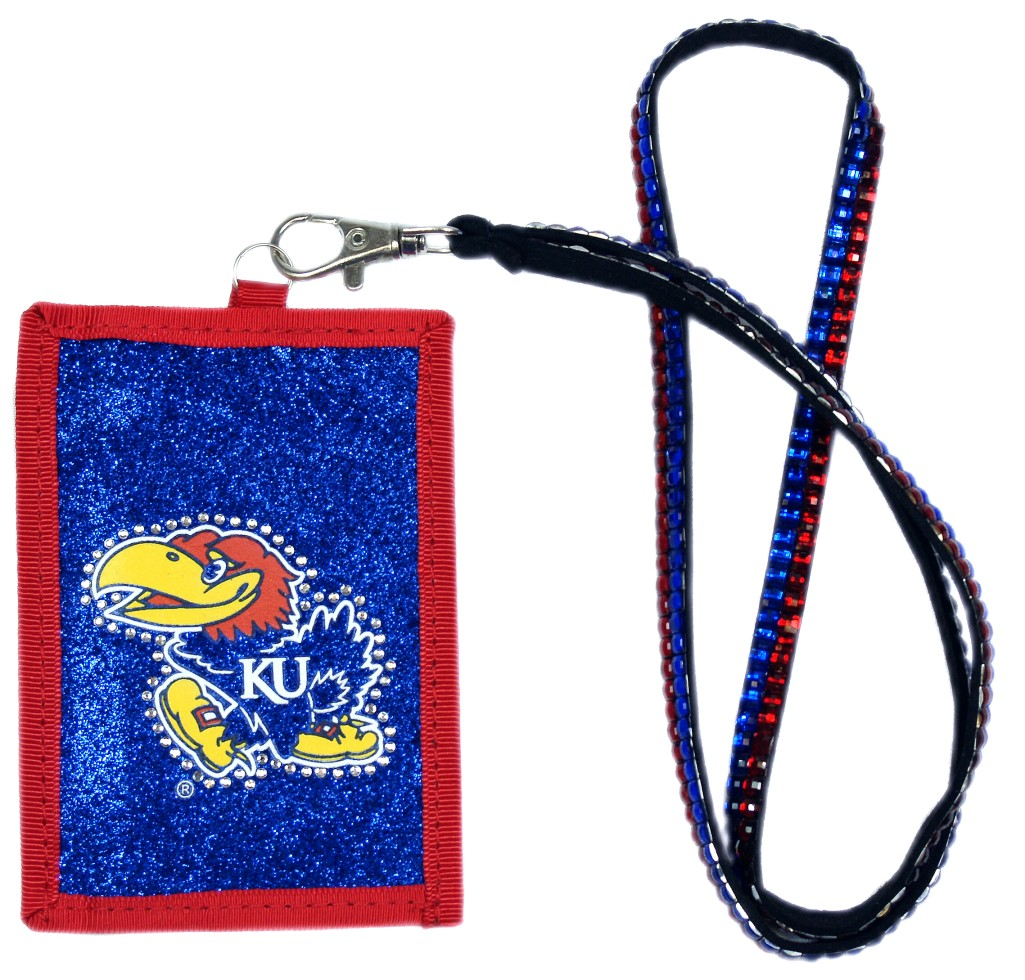 Kansas Jayhawks Beaded Lanyard Wallet