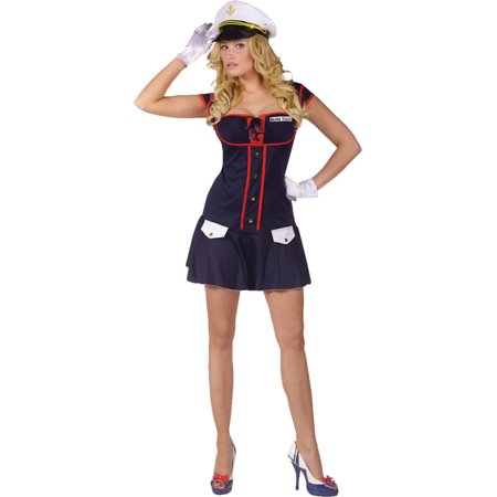 Morris Costumes Adult Womens Uniforms Sailor Drop Waisted Dress M/L, Style FW122244ML for $<!---->