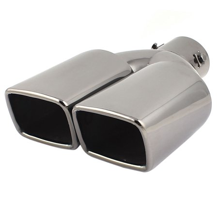 "Unique Bargains Dual Exit 2.4"" Inlet Dia Black Stainless Steel Exhaust Muffler Tip for Vehicles"