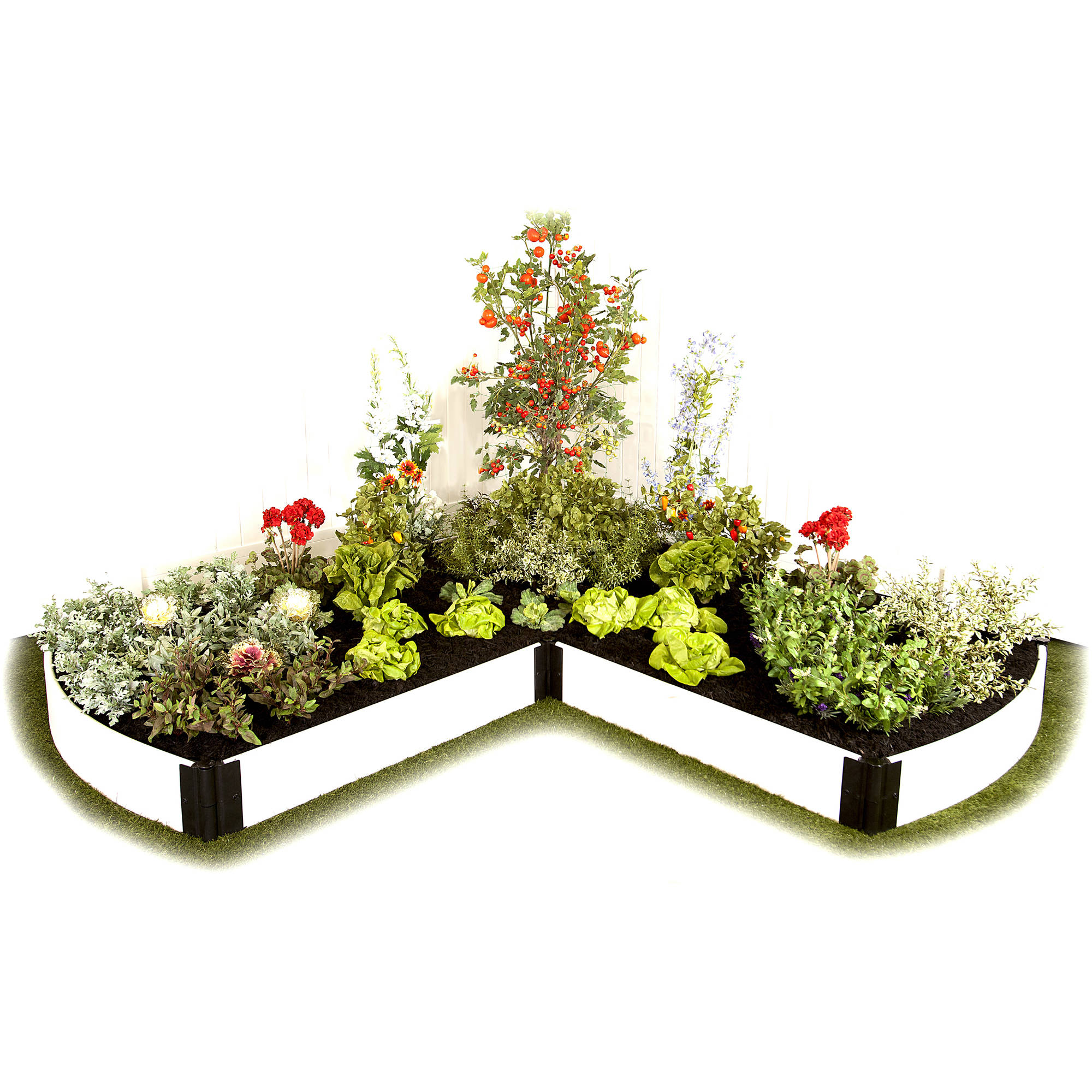"""Frame It All Raised Garden White L-Shaped Curved Ends 1"""" 8' x 8' 1 Level"""