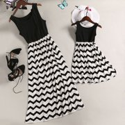 Multitrust Mother and Daughter Casual Boho Striped Maxi Dress Mommy&Me Matching Set Outfits